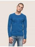 Armani Exchange Tonal Logo Crew Neck Sweater In Light Blue - 3ZZM1N ZMB1Z