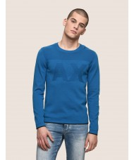 Armani Exchange Tonal Logo Crew Neck Sweater In Light Blue - 3ZZM1N ZMB1Z