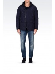 Armani Jeans Hooded Parka In Technical Fabric - Dark Blue