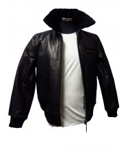 Schott Black Leather Police Style Jacket With Removable Fur Collar & Quilted Liner