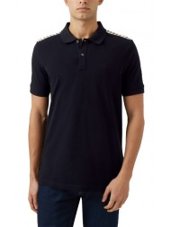 "Aquascutum ""Hill"" Club Check Pique Polo In Navy"
