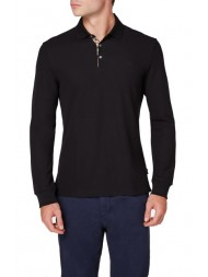 "Aquascutum ""Hillington"" Long Sleeve Placket Polo In Black - TGAC17WBFIM"