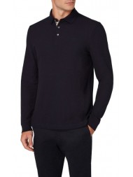 "Aquascutum ""Hillington"" Long Sleeve Placket Polo In Navy Blue - TGAC17WBFIM-NVY"