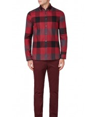 Aquascutum  Rigby Flannel Check Shirt - Red