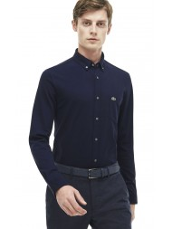 Lacoste Slim Fit Cotton Jersey Shirt In Navy Blue - CH9568 00 HEW