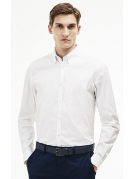 Lacoste Slim Fit Stretch Cotton Poplin Shirt In White - CH9628 00 001