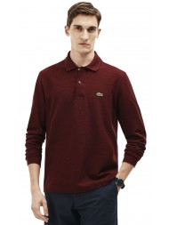 Lacoste classic fit long-sleeve polo in marl petit piqué - Red Basque Chine - L1313 00 SVN