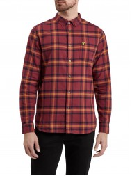 Lyle & Scott Long Sleeve Button Down Check Flannel Shirt - Dark Red -  LW716V