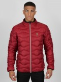 "Luke ""Ruby"" Quilted Funnel Neck Jacket In Cherry Red - M400728"