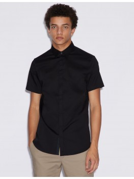 Armani Exchange Black Short Sleeve Shirt With Concealed Buttons - 8NZCBF-ZN10Z