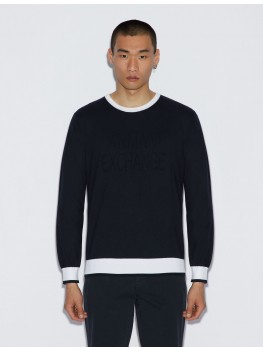Armani Exchange Crew Neck Sweater In Navy With Contrasting Edges - 3GZM2K ZMR2Z