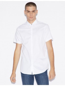 Armani Exchange White Short Sleeve Shirt With Concealed Buttons - 8NZCBF-ZN10Z