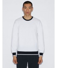Armani Exchange Crew Neck Sweater In White With Contrasting Edges - 3GZM2K ZMR2Z