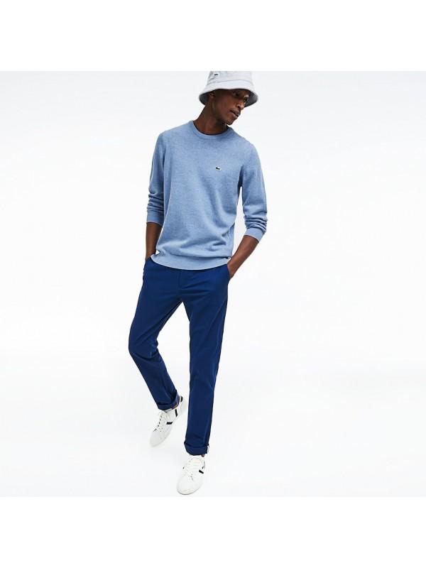 6ef858c9 Lacoste Men's Crew Neck Cotton Jersey Sweater In Pale blue - AH3467-00