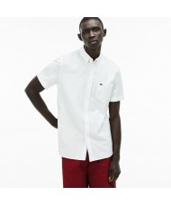 Lacoste Men's Regular Fit Short Sleeve Cotton Oxford Shirt In White - CH4975 00 001