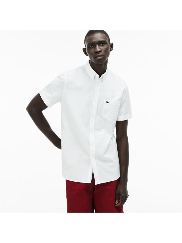 1a3d22e0 Lacoste Men's Regular Fit Short Sleeve Oxford Shirt In White ...