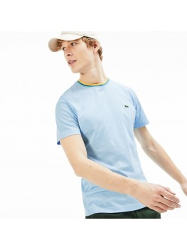 Lacoste Men's T-shirt With Striped Crew Neck Detail In Pale Blue - TH4247-00-G5J