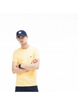 Lacoste Men's Crew Neck Pima Cotton Jersey T-shirt In Light Yellow - TH6709 00 6XP