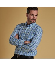 Barbour Gingham Tattersall 3 Tailored Fit Shirt-  Blue White & Yellow - MSH4445BL33