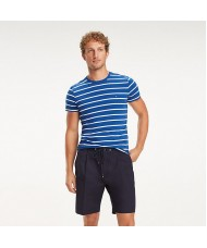 Tommy Hilfiger Stretch Cotton Slim Fit T-Shirt - Blue With White Stripes