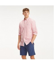Tommy Hilfiger Gingham Check Cotton & Linen Shirt In Pink & White