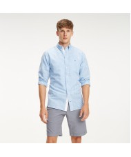 Tommy Hilfiger Gingham Check Cotton & Linen Shirt In Vivid Blue & White