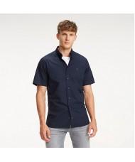 Tommy Hilfiger Short Sleeve Stretch Cotton Poplin Shirt In Navy Blue