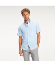 Tommy Hilfiger Short Sleeve Stretch Cotton Poplin Shirt In Pale Blue