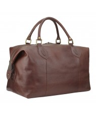 Barbour Medium Leather Travel Explorer Holdall - Dark Brown -  UBA0008BR71