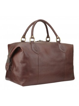 Barbour Medium Leather Travel Explorer Holdall - Dark Brown -  UBA0008BR71