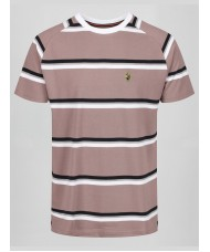 "Luke ""Rey"" Crew Neck Stripe T-Shirt In Mushroom - M470156"
