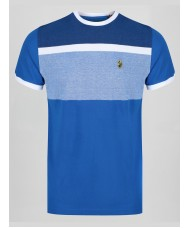 "Luke ""Warnock"" Crew Neck Stripe T-Shirt In Colbalt Blue - ZM440105"