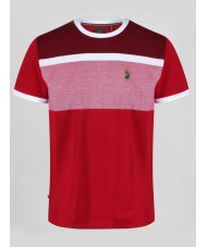 "Luke ""Warnock"" Crew Neck Stripe T-Shirt In Marina Red - ZM440105"