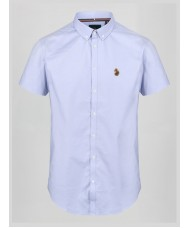 "Luke Sport ""Jimmy Stretch"" Short Sleeve Oxford Shirt In Pale Blue - M470850"
