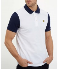 Lyle & Scott Contrast Sleeve Polo Shirt - White & Navy - SP1005V