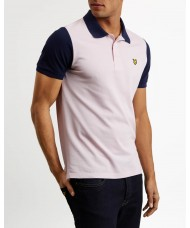 Lyle & Scott Contrast Sleeve Polo Shirt - Dusky Lilac & Navy - SP1005V