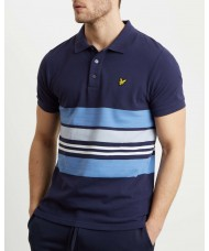 Lyle & Scott Pique Stripe Polo Shirt Navy - SP1015V