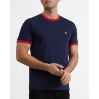 Lyle & Scott Crew Neck Ringer T Shirt In Navy - TS705V