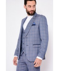 "Marc Darcy ""Harry"" Blue Tweed Check Blazer"