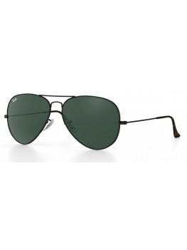 Ray-Ban Aviator - Green Classic G-15 Lenses & Black Frame - RB3689 9147/31 5814
