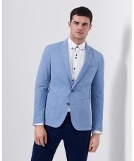 """Remus Uomo """"Fabio"""" Slim Fit Cotton-Blend Jacket In Light Blue"""