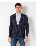 "Remus Uomo ""Torentto"" Slim Fit Striped Tencel Linen-Blend Jacket - 4 11212 78"