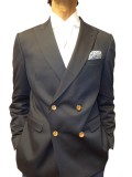 Remus Uomo Double Breasted Peak Lapel Jacket In Navy Blue