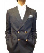 Remus Uomo Double Breasted Peak Lapel Jacket In Navy Blue