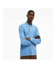Lacoste classic fit long-sleeve polo in marl petit piqué - Light Blue - L1313 00 EUA