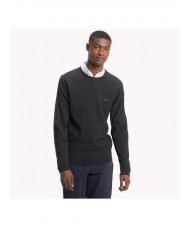 Tommy Hilfiger Cotton Cashmere Crew Neck Jumper In Jet Black Heather