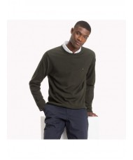Tommy Hilfiger Cotton Cashmere Crew Neck Jumper In Jet Dark Green