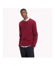 Tommy Hilfiger Cotton Cashmere Crew Neck Jumper In Dark Red