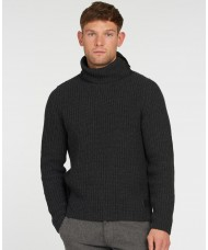 Barbour Fisher Knitted Roll Neck Jumper In Charcoal MKN1322CH51