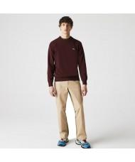 Lacoste Men's Organic Cotton Crew Neck Sweater In Burgundy AH1985 00 SXL